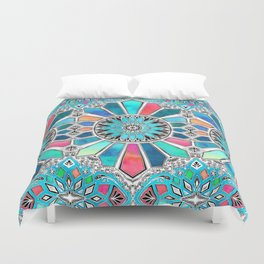 Iridescent Watercolor Brights on White Duvet Cover