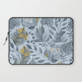 Blue Grey Succulent And Leaf Pattern With Gold Laptop Sleeve