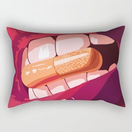 Big Thick Red Lips, Teeth Bite The Capsule Rectangular Pillow
