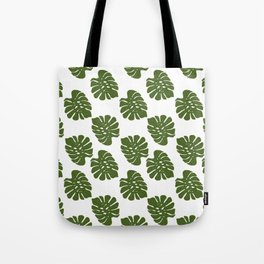Green Leaves - Seamless Pattern, White Background Tote Bag