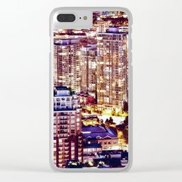 Voyeuristic 1553 Vancouver Cityscape Downtown Yaletown British Columbia Canada Hot Summer Night Clear iPhone Case