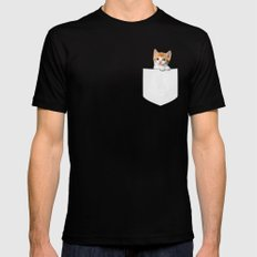 Kitten Pocket Mens Fitted Tee Black X-LARGE