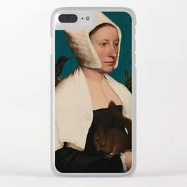 PORTRAIT OF A LADY WITH A SQUIRREL AND A STARLING - HANS HOLBEIN Clear iPhone Case