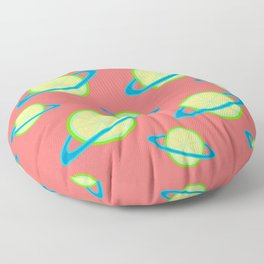 Planet Lime Pattern | Solar System | Space | Citrus Planets | Tropical Fruit | pulps of wood Floor Pillow