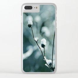 Blue frozen plants Clear iPhone Case