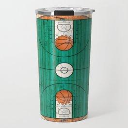Green Basketball Court with Basketballs Travel Mug