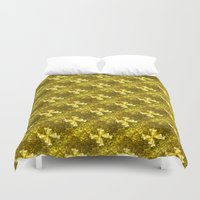 bows Duvet Covers featuring Golden Bows  by Elena Indolfi