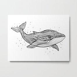 Hand draw whale Metal Print