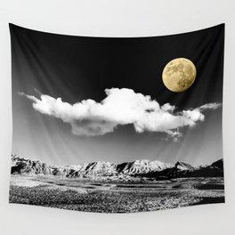 Black Desert Sky & Golden Moon // Red Rock Canyon Las Vegas Mojave Lune Celestial Mountain Range Wall Tapestry