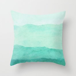 Ombre Waves in Teal Throw Pillow