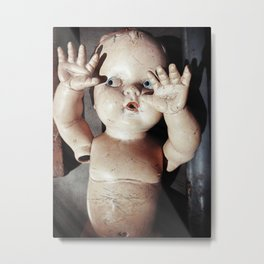 """I see you"" Creepy Scared Doll with Hands Up Metal Print"
