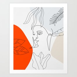 Abstract Portrait Line Art Art Print