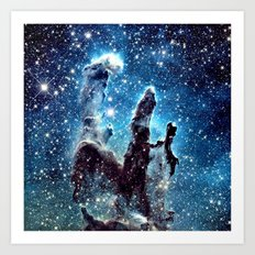 Pillars of Creation Nebula: Ocean Blue Galaxy Art Print