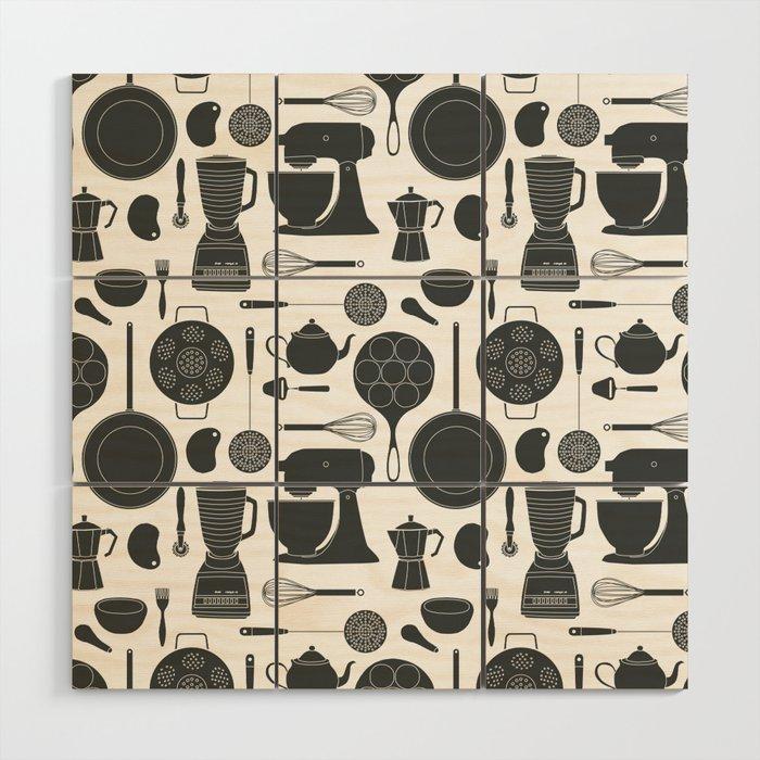 Kitchen Tools (black on white) Wood Wall Art