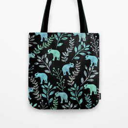 Watercolor Flowers & Elephants IV Tote Bag