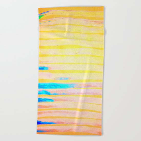 Orange Pantone Ocean Blue Lines Beach Towel