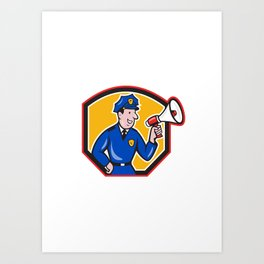 Policeman Shouting Bullhorn Shield Cartoon Art Print