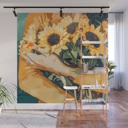 Holding Sunflowers #society6 #illustration #nature #painting Wall Mural