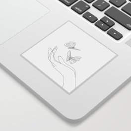 Butterflies on the Palm of the Hand Sticker