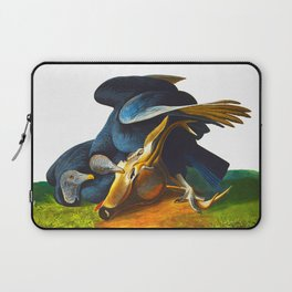 Black Vulture or Carrion Crow Eating a Dead Deer Laptop Sleeve