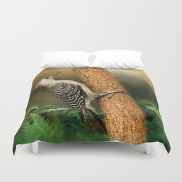 Red Bellied In Search of Food Duvet Cover