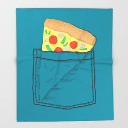 Emergency supply - pocket pizza Throw Blanket