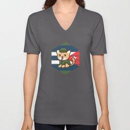 Cuba Fidel Catstro Cat Cute Unisex V-Neck