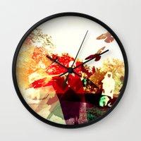 mandie manzano Wall Clocks featuring OPPROBRIUM by Chrisb Marquez