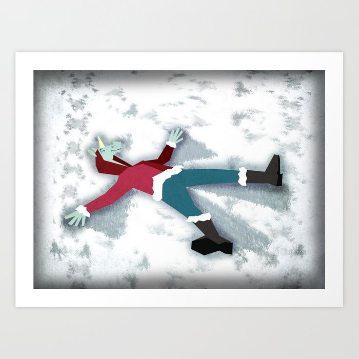 Snow Angel Unicorn Art Print