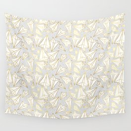 Paper Airplanes Faux Gold on Grey Wall Tapestry