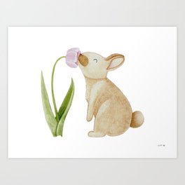 Bunny smelling a Tulip Art Print