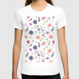 Abstract coral purple violet vector floral pattern T-shirt