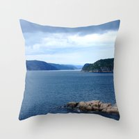 norway Throw Pillows featuring Landscape Norway by Christine baessler