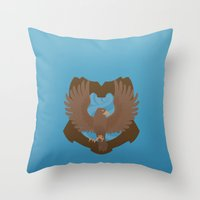 ravenclaw Throw Pillows featuring Ravenclaw by Tom Oxnam