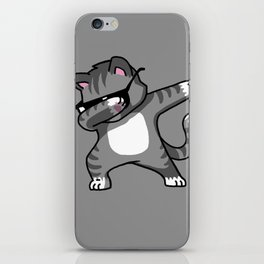 Dabbing Cat Grey iPhone Skin