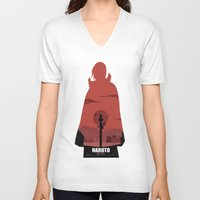 sasuke V-neck T-shirts featuring Naruto Shippuden - Itachi by ReachArt