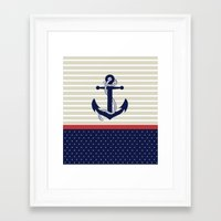 navy Framed Art Prints featuring Navy by Vickn