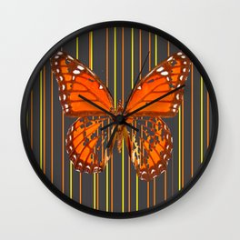 OLD WORN DESICCATED BUTTERFLY PATTERN ART Wall Clock