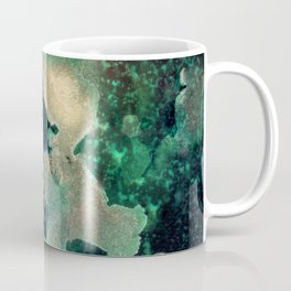 Gems : black, green, cream, brown, yellow, gold ink abstract painting Coffee Mug