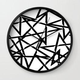Interlocking Black Star Polygon Shape Design Wall Clock