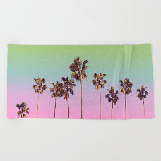 palm trees rainbow vintage Beach Towel