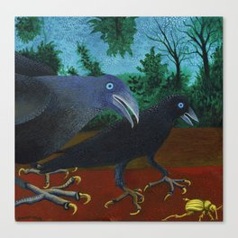 Two Crows and a Beetle Canvas Print