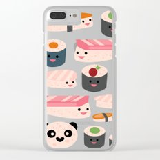 Kawaii sushi green Clear iPhone Case