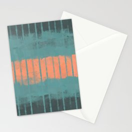 Bright Peachy Horizon, Modern Abstract Painting, Paint Stripes in Petroleum, Teal and Salmon Colors Stationery Cards