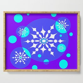 A Winter Snowy Design with Pretty Snowflakes Serving Tray