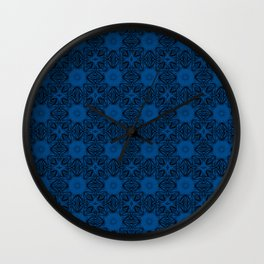 Lapis Blue Floral Wall Clock