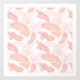 Pink Banana Leaves Art Print