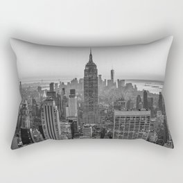 New York Skyline - Manhattan Black and White Rectangular Pillow