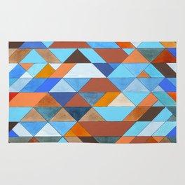 Triangle Pattern no.18 blue and orange Rug