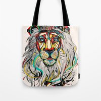king Tote Bags featuring Lion by Felicia Cirstea